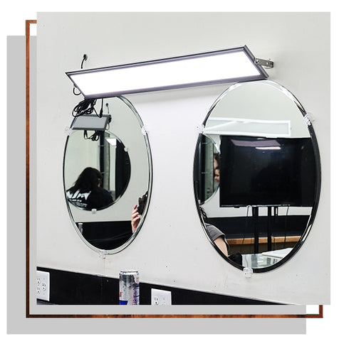 A custom panel above two circular mirrors