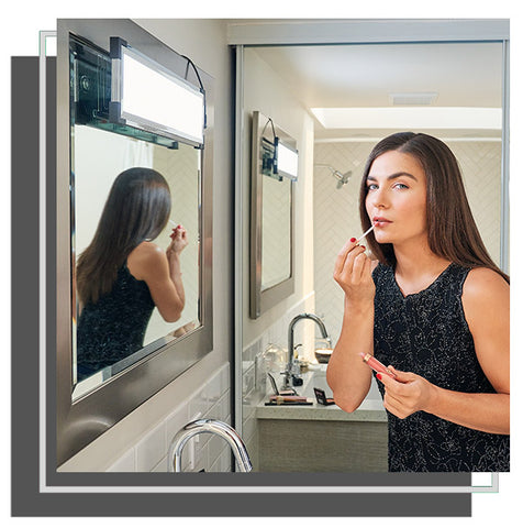 Woman applying lip makeup in front of mirror with Eyelight