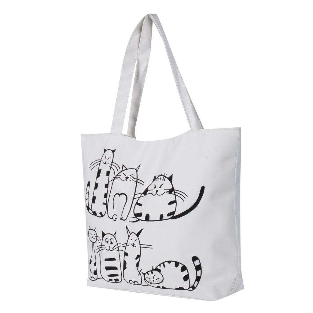 Canvas Handbag cartoon Cat Printed Shoulder bag