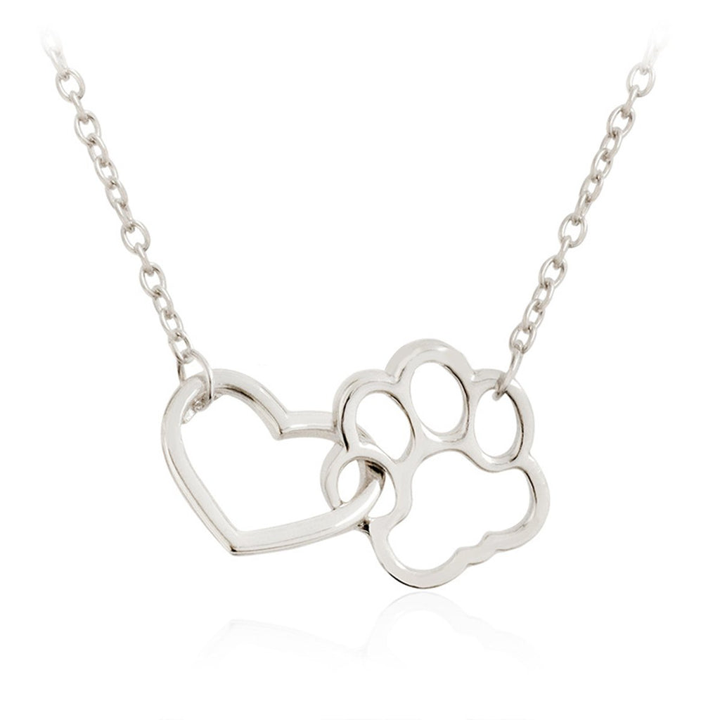 Hollow Pet Paw Footprint Necklaces Dog Cat
