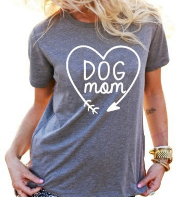 Dog Mom T Shirt for Animal Lovers T-Shirts Short Sleeve Lady Top Shirts Women Tops Tees