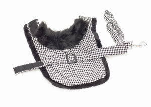 Black- White Classic Pet Harness Coat