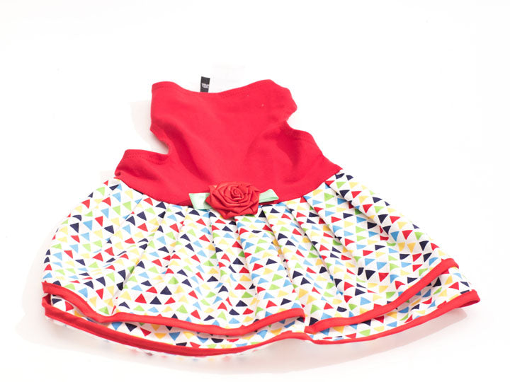 Red Top/Multi Triangle Print Pet Dress