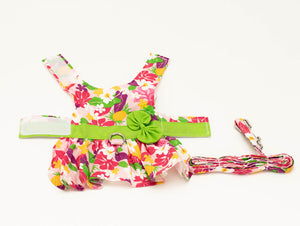 Pink Hawaiian Floral Pet Harness Dress with matching Leash