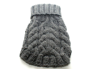 Gray Hand Knit Turtleneck Pet Sweater