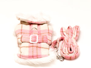 Pink & White Plaid Pet Coat and Leash