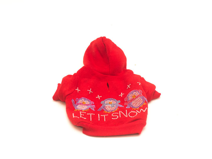 Let It Snow Penguins Rhinestones Dog Hoodie-Red