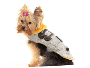 Grey Herringbone Coat with Harness by Doggie Design