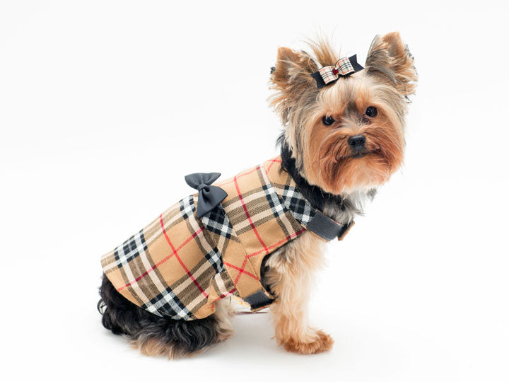 Tan Plaid  Pet Dress