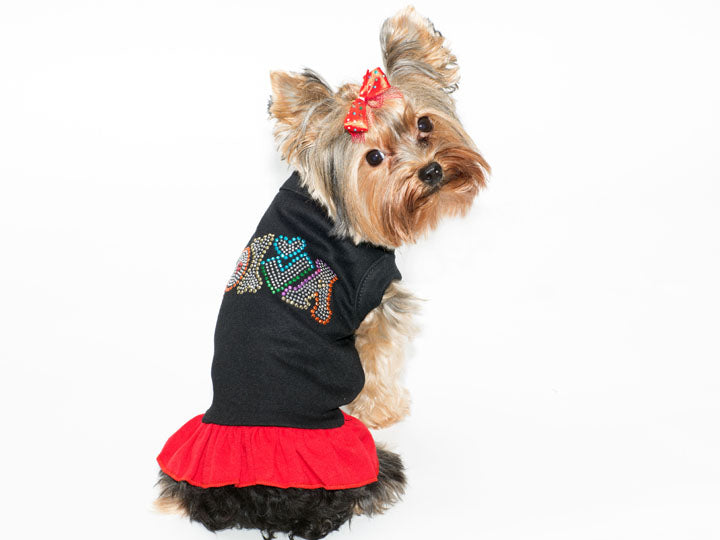 Technicolor Diva Rhinestone Pet Dress Black with red