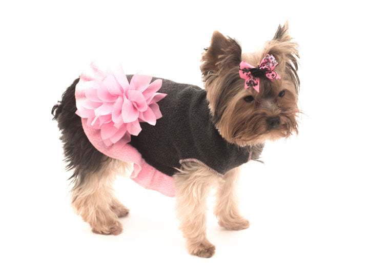 Gray Pink and Gray Pullover Dog Dress with Pink Flower