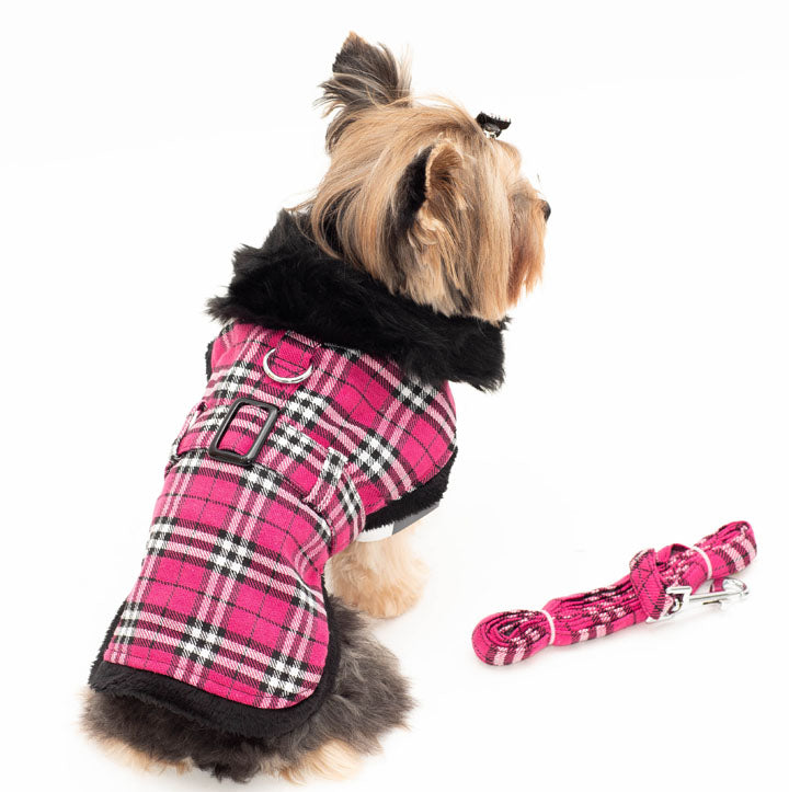 Hot Pink Plaid with thick Faux Collar Harness Coat with Leash