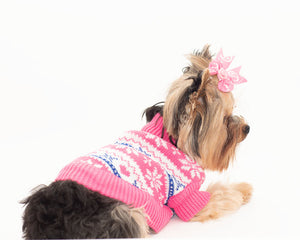 Cotton snowflake and Heart Pet Sweater- Pink
