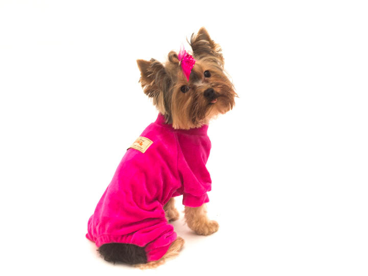 Velour Dog Pajamas-Hot Pink