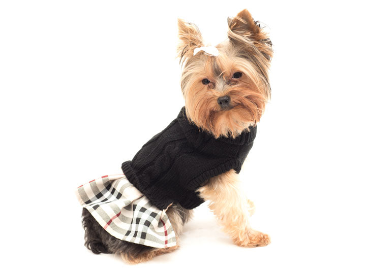 Turtleneck Dress-Black with Tan Plaid skirt