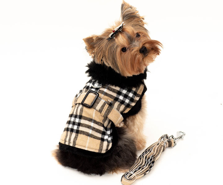Classic Plaid Coat-Harness Faux Fur collar by Doggie Design