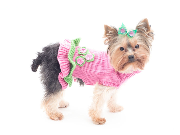 Girly Girl Dog Sweater-Dress- Pink