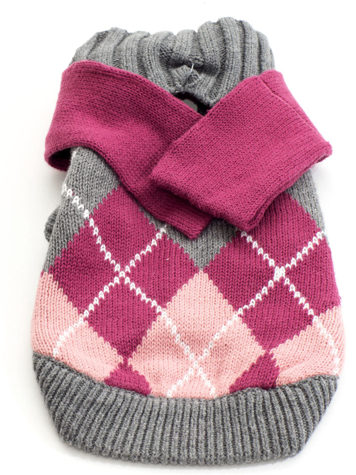 Pink and sweater with scarf