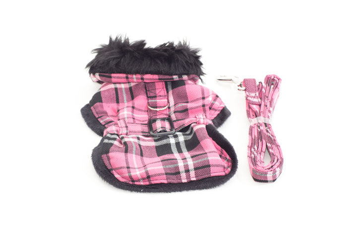 Hot Pink Plaid Pet Harness Coat with Matching Leash