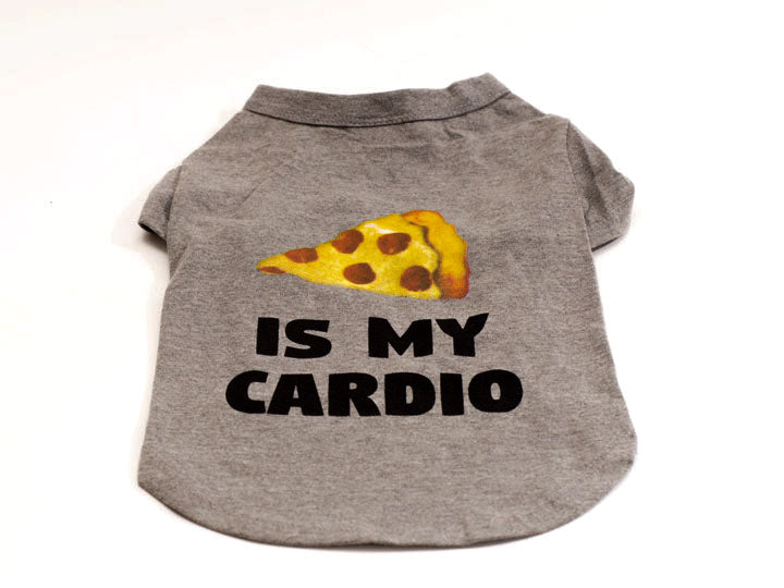 Pizza is  My Cardio .. Pet Tee in Heather Grey
