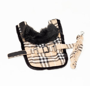 Brown Plaid Classic Pet Harness Coat