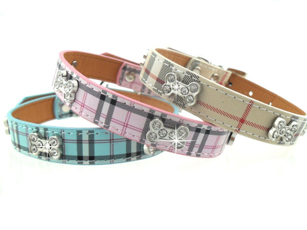 Plaid Rhinestone PetCollar-Necklace