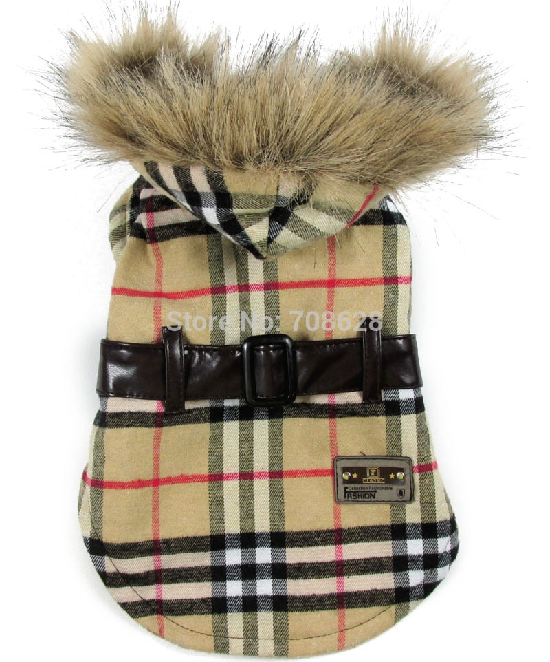 Plaid Coat With Faux Fur Collar for Pets