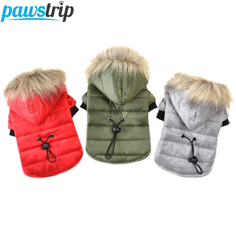 Pawstrip Pet Dog Coat with soft Fur Hood Canine winter Warm