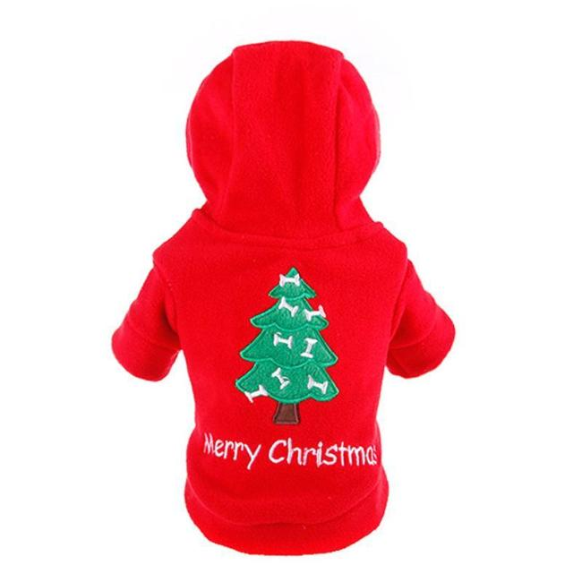 Red Fleece Christmas Tree Print Hoodie