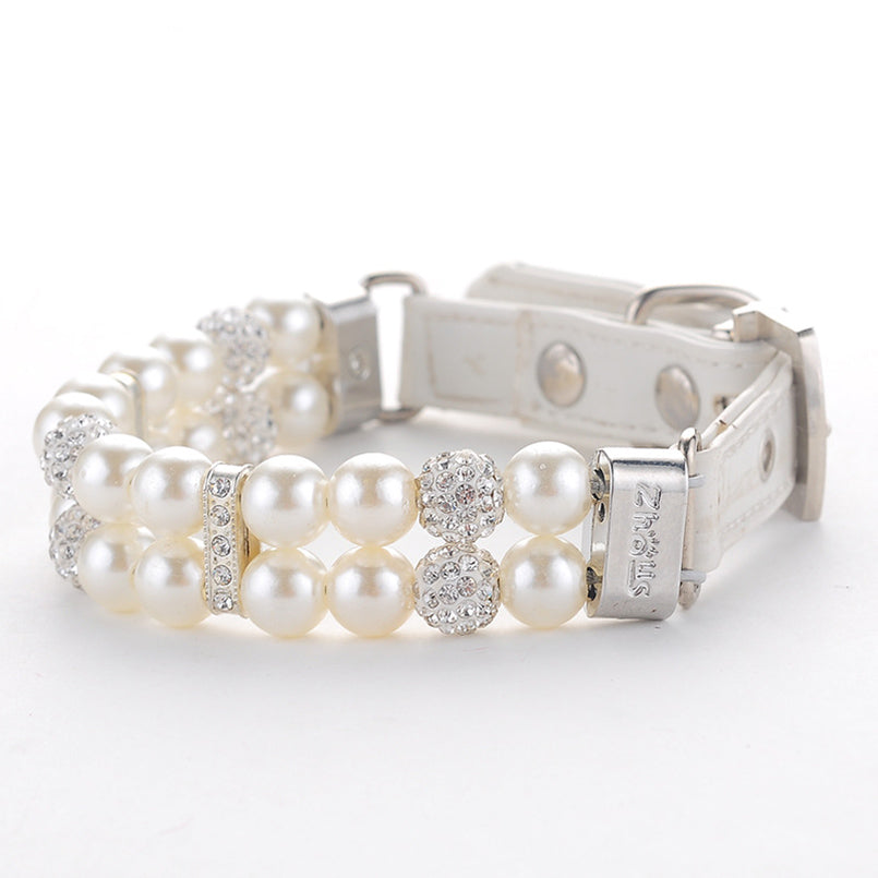 Pearl Pet Collar with Rhinestones -with Diamond Buckle