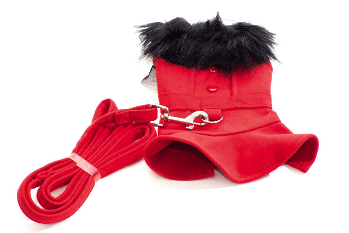 Red wool coat with faux fur trim and harness