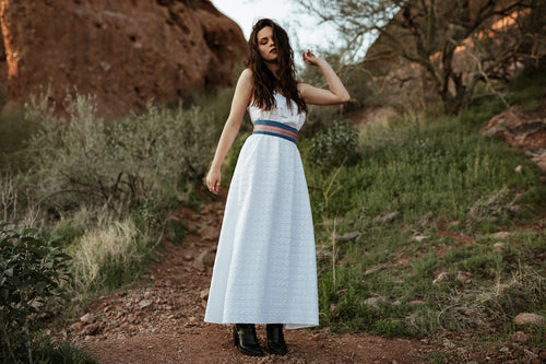 Eyelet Cotton White Maxi dress