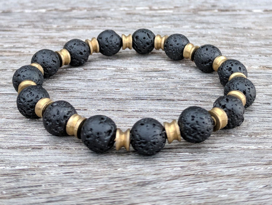 """Pele's Fire"" lava rock and antique Nepal brass bracelet"