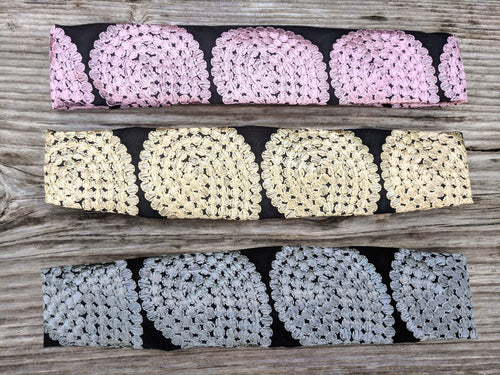Handmade Upcycled Eco-Conscious Embroidered Headbands Pastel Colors Front
