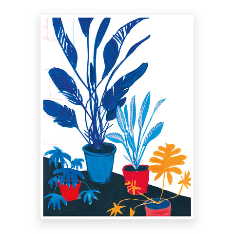 Blue Leaves and Red Pots, 30x40cm Print