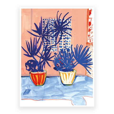 Blue Palm Trees, 30x40cm Print