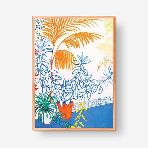 Orange Palm Tree 500x700mm, Original artwork