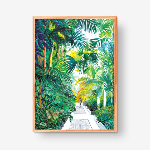 Palm trees and One Person, 50x70cm Giclée Print