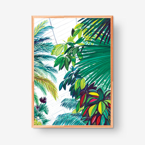 Palm trees and Red Leaves, 50x70cm Glicée Print