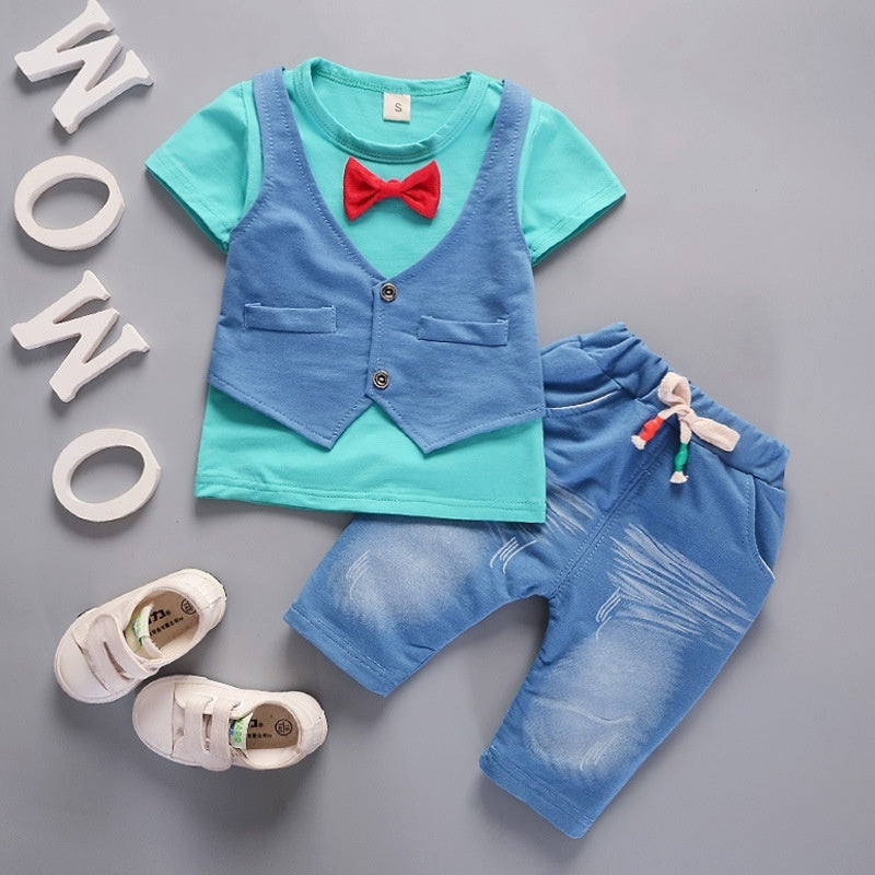 Boys Outfit Short Sleeve T-shirt+Pants Gentleman Clothes