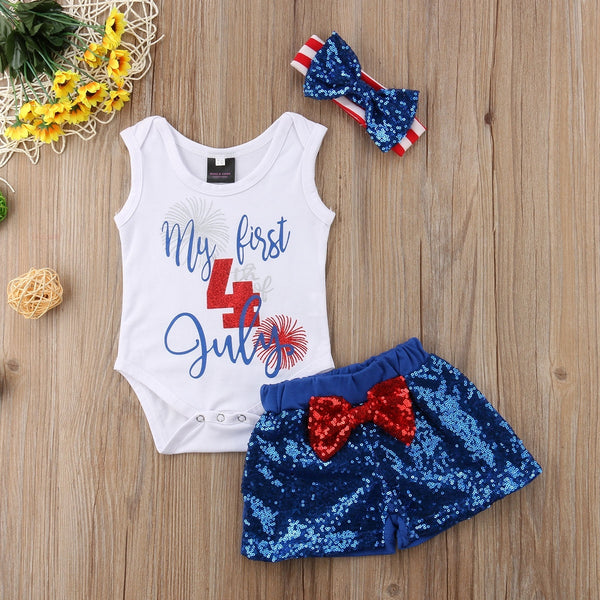 My First 4th of July Tank Top, Shorts, & Matching Headband Outfit