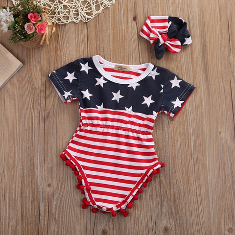 Star Spangled Banner July 4th Baby Girl Romper