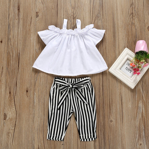 2 Piece Baby  Girl Halter Top & Striped Pants Outfit