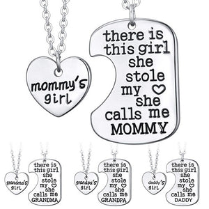 1Pair Family Necklace English Letters Carved Mommy Daddy Girl Pendant Necklaces Jewelry Gifts