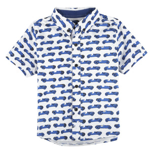 Race Car Printed Short Sleeve Button-down Shirt