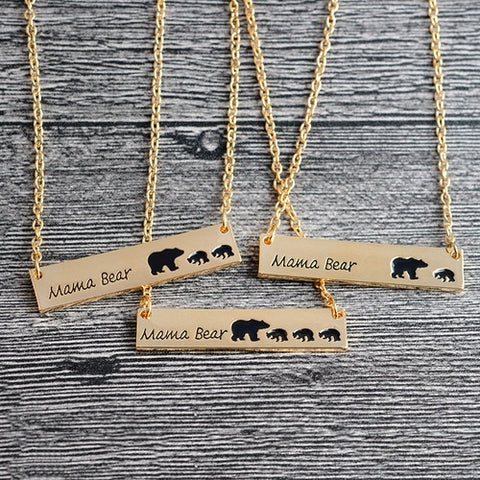 Cute Family Love Mama and Baby Bear Necklace Bar Necklace Mother's Day Gift Sweet Gift for Mom