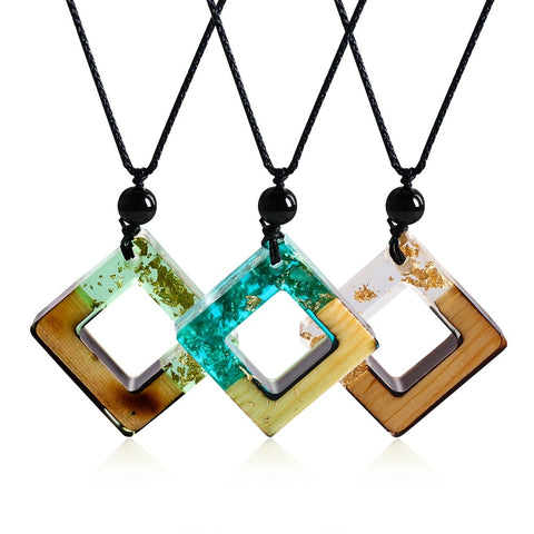 Unique Handmade Long Clear Pendant Wooden Resin Necklace