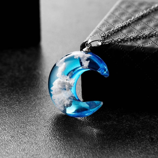 Blue Sky Moon Necklace White Cloud Necklace Resin Transparent Ladies Necklace Handmade Jewelry Christmas Gift For Women Girls