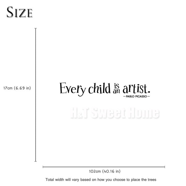 Every Child Is An Artist Pablo Picasso Quotes Words Vinyl Wall Sticker Decal Kids Baby Play Room Bedroom 17x102cm