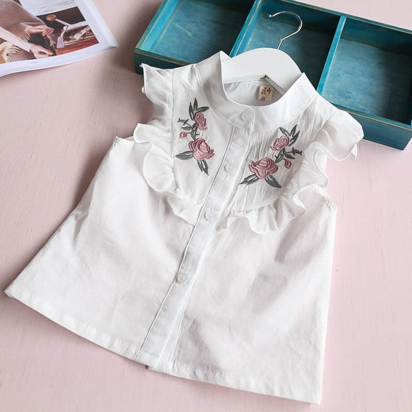 2Pcs Children Clothes Set Little Girls Sleeveless Embroidery Shirt + Bowkont Shorts Kids Girl Outfits